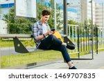 Male Student Wth Smart Phone...