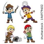 children in pirates costumes