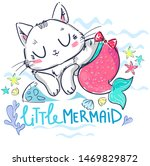 Stock vector kitten mermaid isolated on white background hand drawn fantasy cute cat vector illustration 1469829872