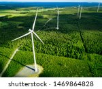 Aerial View Of Windmills In...