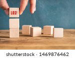 hand is stacking cubes with the ... | Shutterstock . vector #1469876462