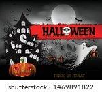 happy halloween background with ... | Shutterstock .eps vector #1469891822