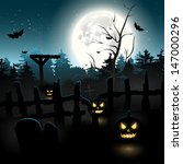 scary graveyard at night  ... | Shutterstock .eps vector #147000296