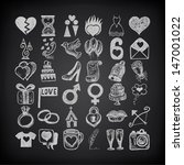 36 hand drawing doodle icon set ... | Shutterstock .eps vector #147001022