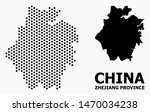 Pixelated map of Zhejiang Province composition and solid illustration. Vector map of Zhejiang Province composition of circle items with honeycomb periodic pattern on a white background.