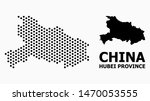 Dotted map of Hubei Province composition and solid illustration. Vector map of Hubei Province composition of round elements with honeycomb periodic array on a white background.