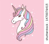 cute white unicorn head vector  ... | Shutterstock .eps vector #1470076415