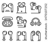 wireless earbuds icons set.... | Shutterstock .eps vector #1470107252