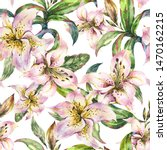 white lily seamless pattern ... | Shutterstock . vector #1470162215