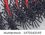 Working parts of new agricultural disc harrow. Plow. Harrow. Cultivator for cultivating the earth.