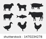 silhouettes of farm animals.... | Shutterstock .eps vector #1470234278
