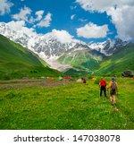 young hikers trekking in... | Shutterstock . vector #147038078