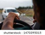 Broken Windshield Of A Car. A...