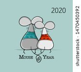 funny mouse  symbol of 2020... | Shutterstock .eps vector #1470450392