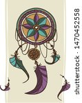 dreamcatcher with feathers ethnic print with native American Indian boho design, mystery symbol, hand drawn  tribal gypsy spiritual tattoo card. Vector illustration of dream catcher