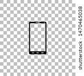 smartphone. black flat icon on...