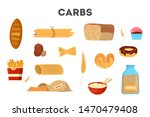 set of carb food. bread and... | Shutterstock .eps vector #1470479408