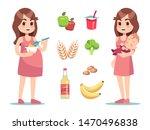 pregnant woman diet. vector... | Shutterstock .eps vector #1470496838