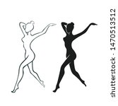 slim woman logo outlines and... | Shutterstock .eps vector #1470513512