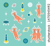 set od stickers with cats... | Shutterstock .eps vector #1470545492