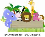 animals with a banner | Shutterstock .eps vector #147055046