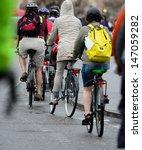 Bikes in traffic - stock photo