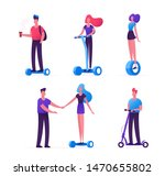 set of people riding ecology... | Shutterstock .eps vector #1470655802