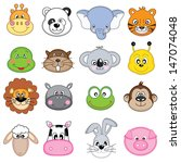 animal faces set. vector   Shutterstock .eps vector #147074048