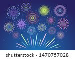 colorful fireworks. celebration ... | Shutterstock .eps vector #1470757028
