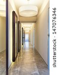 New modern corridor with mirrors, vertical view - stock photo