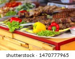 barbecue vegetables and meat on ...   Shutterstock . vector #1470777965