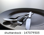 silver fork  knife and spoon on ... | Shutterstock . vector #147079505