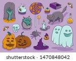 halloween vector stikers witch... | Shutterstock .eps vector #1470848042