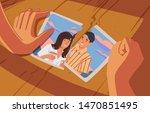 hands holding torn photograph... | Shutterstock .eps vector #1470851495