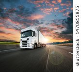 truck with container on highway ... | Shutterstock . vector #1470855875