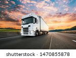 truck with container on highway ... | Shutterstock . vector #1470855878