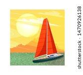 Sailing Ship At Sunset Banner...