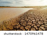 Dried Lake And River On Summer...