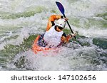 an active male kayaker rolling... | Shutterstock . vector #147102656