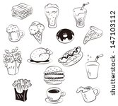 hand draw foods in doodle style | Shutterstock .eps vector #147103112