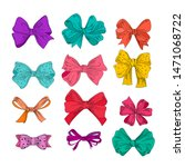 cartoon bows set. violet  green ... | Shutterstock .eps vector #1471068722