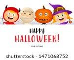 happy halloween lettering and... | Shutterstock .eps vector #1471068752