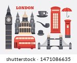 Set of icons London. Sights of Britain. Collection of elements United Kingdom. Illustration of England in flat style with telephone booth, mail box, up of tea, bus, umbrella, pipe and others.