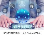 Small photo of Conceptual hand writing showing English Language. Business photo text third spoken native lang in world after Chinese and Spanish Female human wear formal work suit presenting smart device.