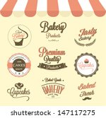 cupcakes  and bakery labels set | Shutterstock .eps vector #147117275