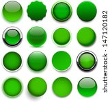 set of blank green round...