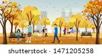 autumn landscape in city park... | Shutterstock .eps vector #1471205258