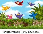 colorful birds in jungle scene... | Shutterstock .eps vector #1471226558