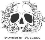 skull and roses. vector. | Shutterstock .eps vector #147123002
