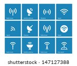 radio tower icons on blue... | Shutterstock .eps vector #147127388
